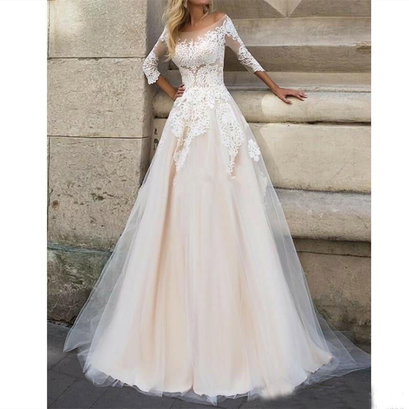 Image 3 - lORIE  Wedding Dresses 2019 Elegant 3/4 Sleeves Sweep Train Plus Size Bridal Dress Custom Champagne Boho Wedding Gown-in Wedding Dresses from Weddings & Events