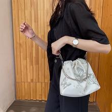 Chain Crossbody Bags For Women Bag 2020 Ring reflective butterfly bag nylon Drawstring bucket Shoulder bag Casual bolso mujer