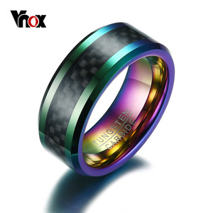 Vnox Tungsten Men Ring with Carbon Fiber 8mm Male Engagement Party Finger Ring Wedding Bands US Size 8 9 10 11 12