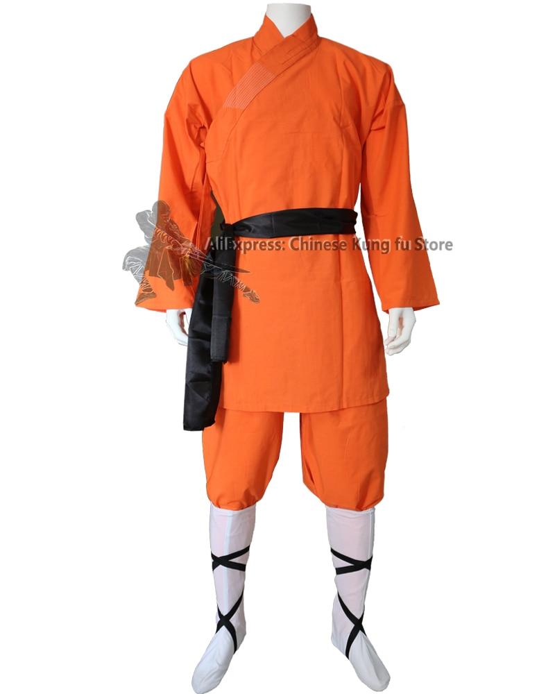 Детский оранжевый хлопковый костюм Шаолинь для взрослых, мантия кунг-фу, костюм для боевых искусств, униформа тай-чи Вин Чун