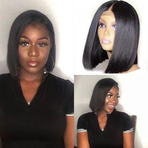 Straight-Bundles Wigs Closure Weave Human-Hair Allrun with DIY Lace Short Bob Non-Remy