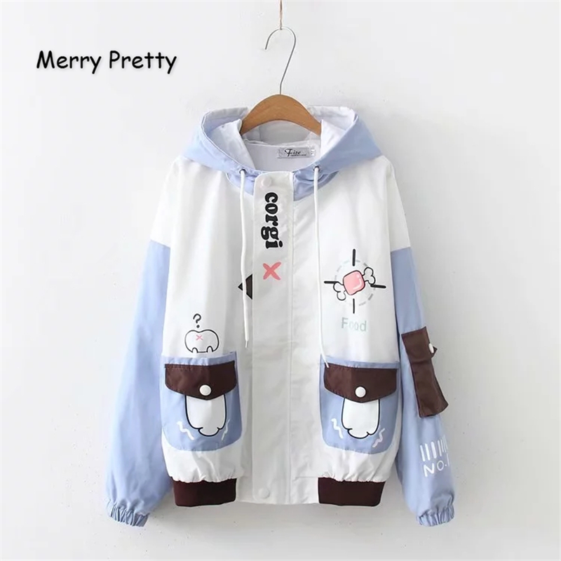 Merry Pretty Women Cartoon Print Harajuku   Basic     Jacket   2019 Winter Long Sleeve Pockets Hooded Femme Zippers Breasted Outerwear