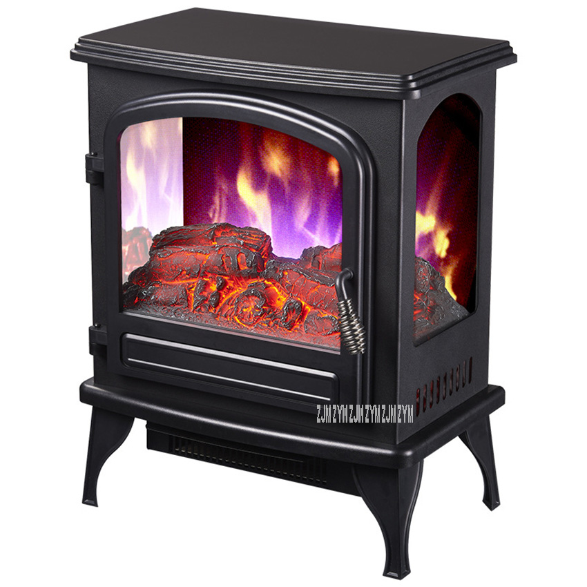 SF-1817 Independent Vertical Electric Fireplace Household Visible Flame Warm Air Blower 2 Gear Single Door Heating Firebox 220V