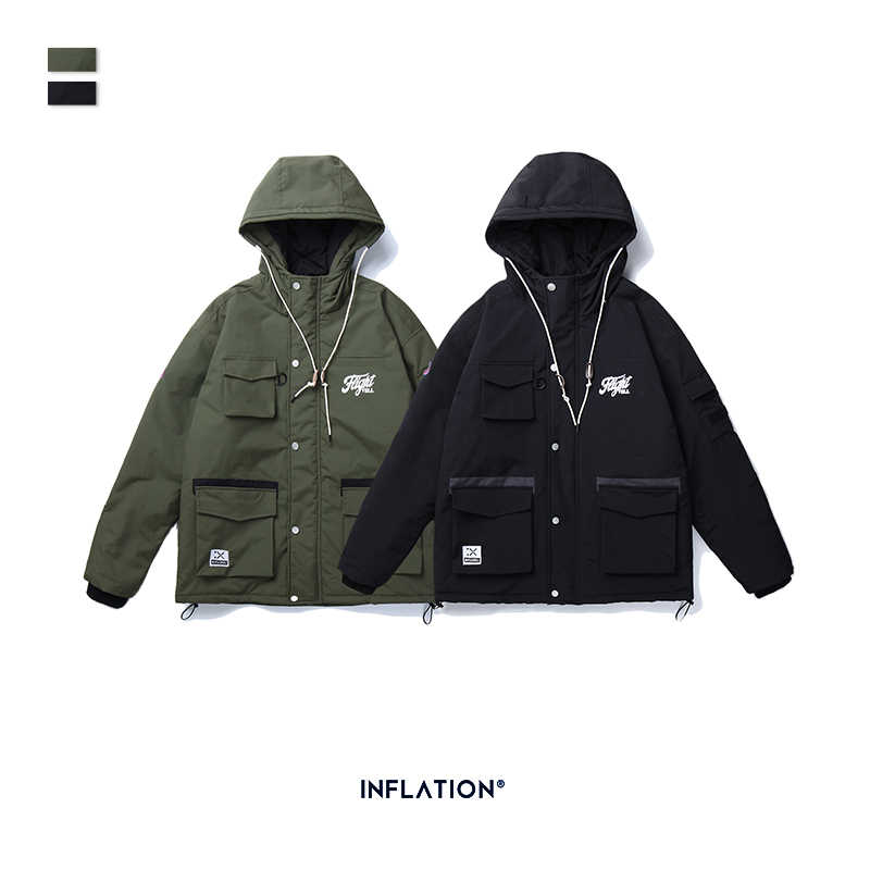 INFLATION DESIGN Thick Winter Men Parka Streetwear Style Functional Men Jacket Hooded Men Parka With Pockets Men Coats 1999AE