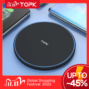 TOPK 10W Wireless Charger For iPhone 12 11 Pro Max Fast Wireless Charging Pad Induction Charger For Samsung S9 S10+ Note 9 8
