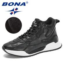 BONA 2020 New Designers Popular Casual Ankle Botas Hombre Men Lace-Up Basic Boots Man Fashion Plush Warm Snow Footwear Masculino