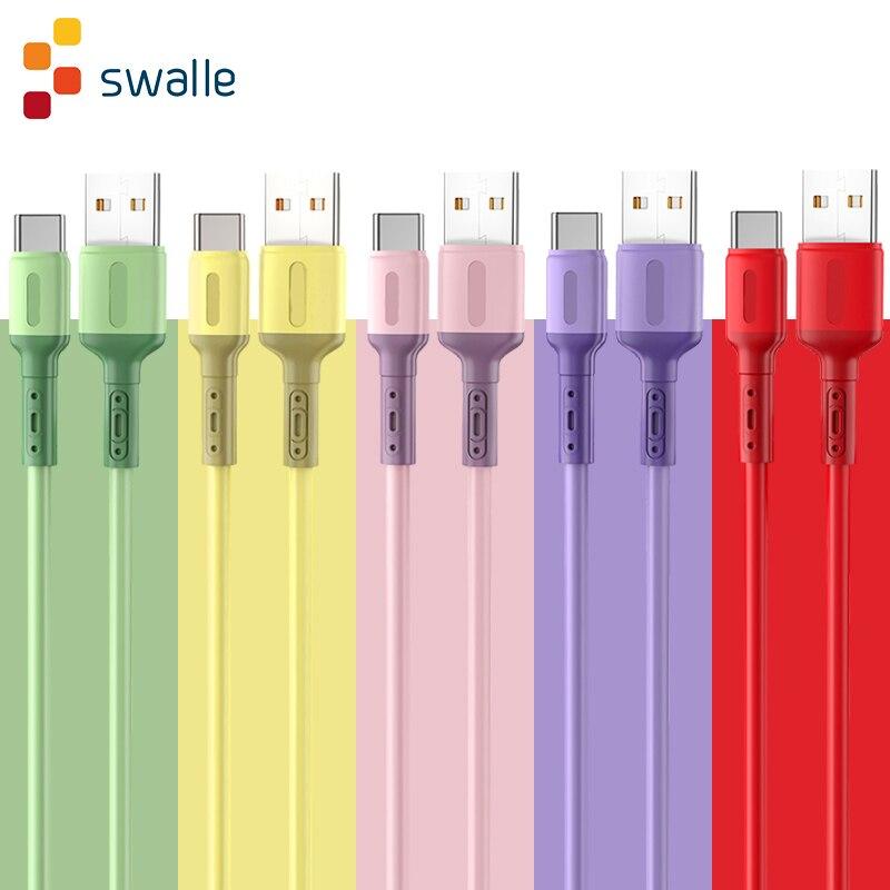 Кабель Swalle USB C для Xiaomi Redmi Note 10, кабель Micro USB 2.4A для быстрой зарядки телефона Huawei P40 Pro, зарядный кабель Type C