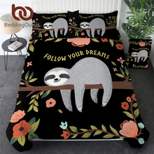 Parure de lit Folivora, style dessin animé, sortie de lit, motif Floral, housse de couette, feuilles darbre, motif Animal, livraison directe
