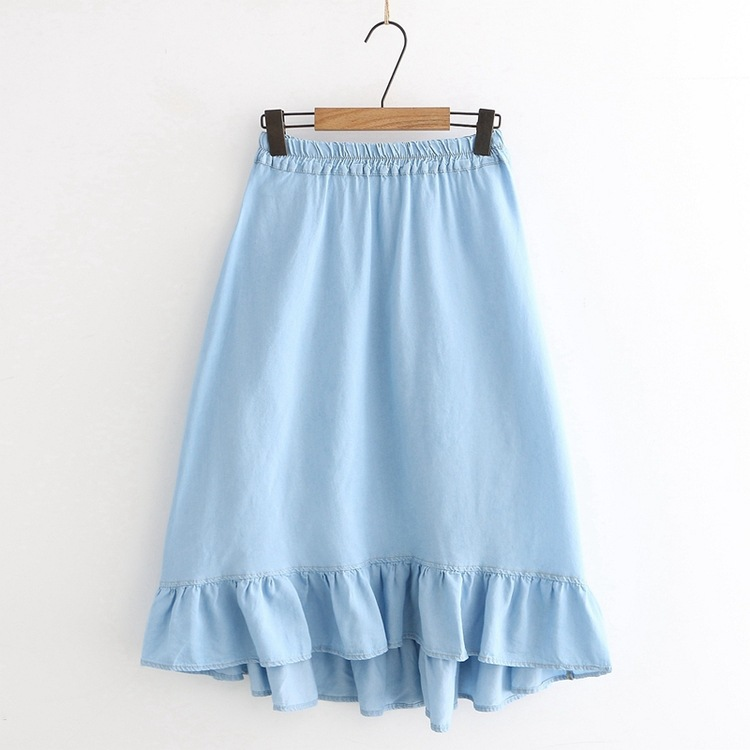 Summer New Style Loose And Plus-sized Slimming Denim Skirt Women's Tencel Mid-length High-waisted A- Line Skirt S27248