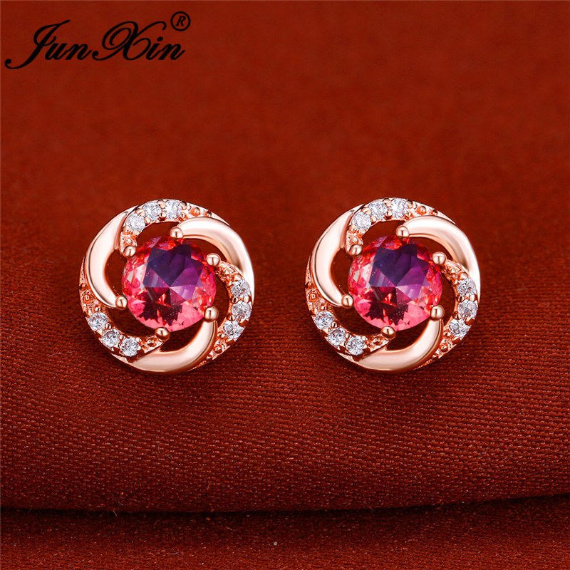 Colorful Gradient Zircon Round Stud Earrings Rose Gold Rainbow Fire Crystal Stone Pink Blue Wedding Earrings For Women Jewelry