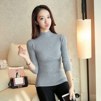 Fashion Solid White and Black Tops Sweaters 2020 Winter Long Sleeve Turtleneck Pullovers Womens Sweaters Femme Clothing 5218 10