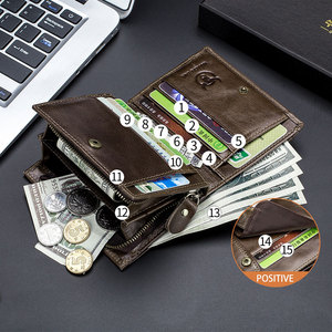 Image 3 - Кошелек BULLCAPTAIN мужской кожаный, бумажник без RFID сканирования, модный клатч с монетницей и кредитницей
