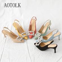 Kobiety pompy damskie buty na wysokim obcasie z ozdobnymi kamieniami kobiece luksusowe sandały Pointed Toe sukienka markowa wesele buty duże rozmiary 41 2021 tanie tanio AOTOLK podstawowe Szpilki CN (pochodzenie) flokowane Z niewielkim szpicem Wysoka (5 cm-8 cm) Dobrze pasuje do rozmiaru wybierz swój normalny rozmiar