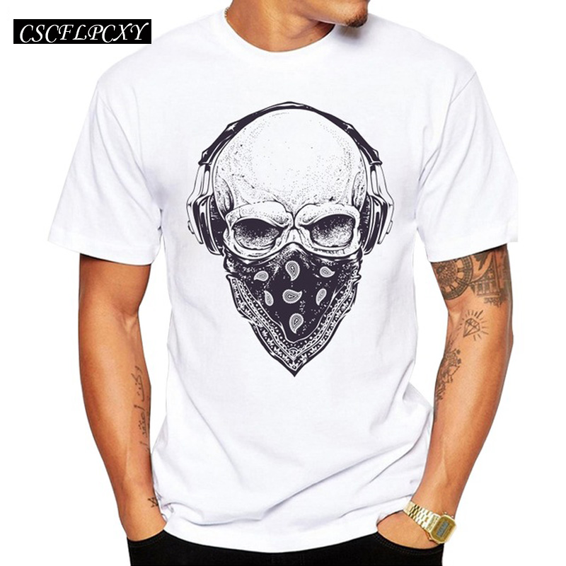 2019 Men T Shirts Fashion Skull With Headphones Design Short Sleeve Casual Tops Hipster Vintage Printed T-Shirt Cool Tee