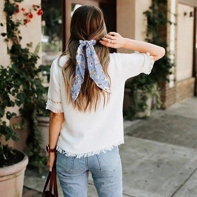 Floral Print Bow Satin Long Ribbon Ponytail Scarf Hair Tie Scrunchies Women Girls Elastic Hair Bands Hair Accessories 4