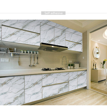 5M  Self Adhesive Marble Wall Stickers Kitchen Contact Paper PVC Countertop Bathroom Furniture Decorative Waterproof Wallpaper thick waterproof pvc imitation marble pattern moisture proof stickers wallpaper kitchen bathroom self adhesive wall stickers