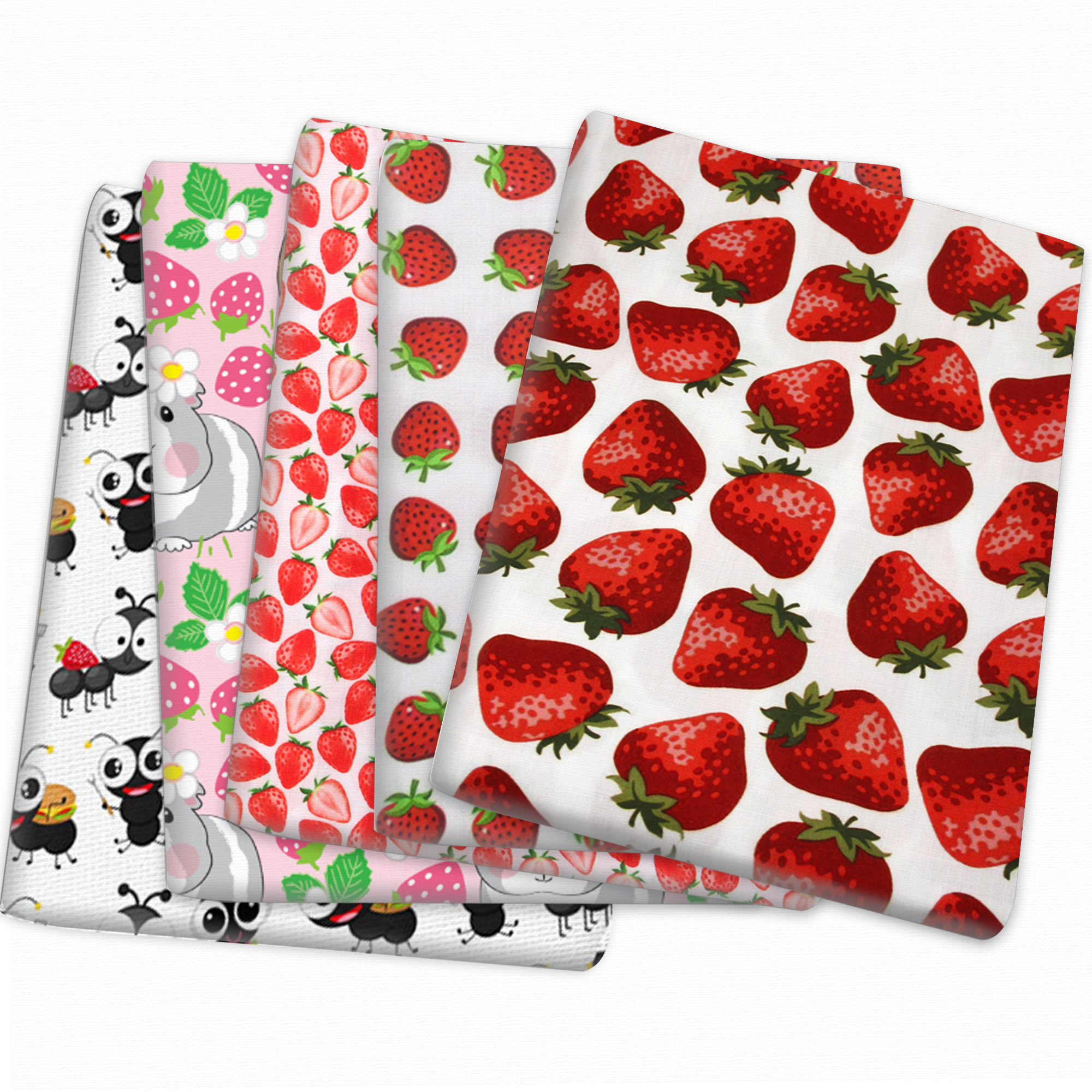 Strawberry Polyester Cotton Fabric Patchwork For Tissue Kid Home Textile Sewing Doll Dress Curtain,1yc14344