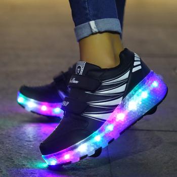 2021 jesień nowe świecąca trampki z kółkami na buty dla chłopców z kółkami i światłami dziewczęce buty Led z wrotki tanie i dobre opinie 13-24m 25-36m 7-12y 4-6y 12 + y CN (pochodzenie) Wiosna i jesień Lekkie Damsko-męskie Buty casualowe RUBBER latex Dobrze pasuje do rozmiaru wybierz swój normalny rozmiar