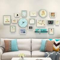 15 Pcs/set Photo Frames Set With Wooden Clock Elegant Picture Frames Combination With Shelf Picture Frames porta retrato moldura