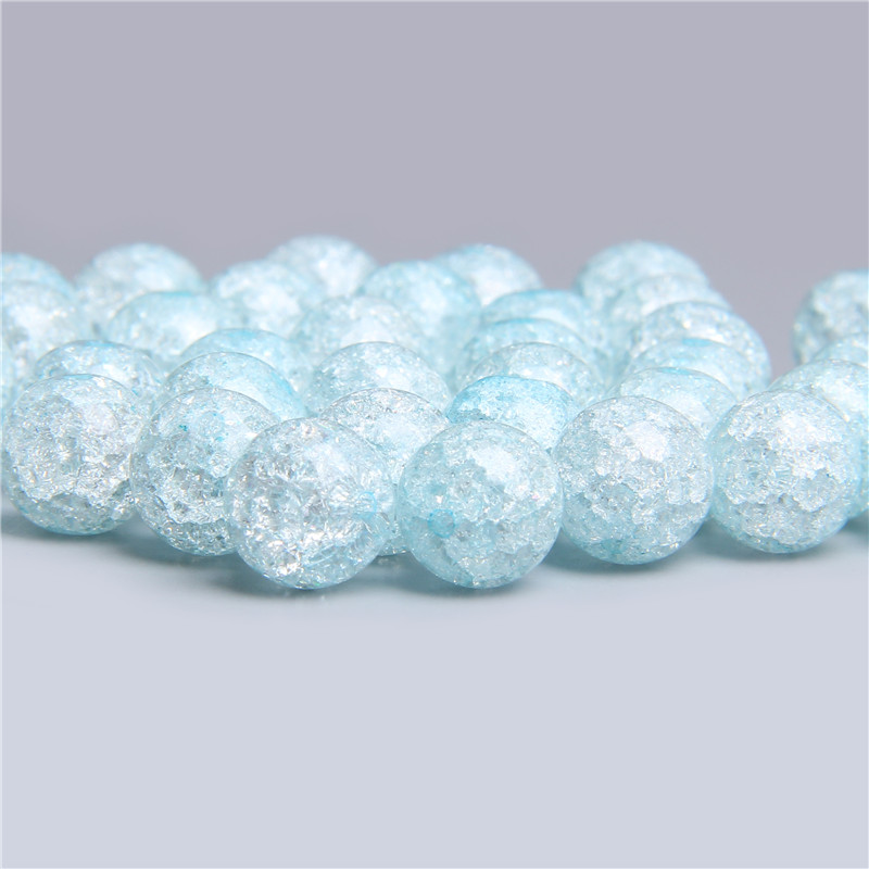 Natural Snow Cracked Crystal glass Beads For Jewelry Making Women Diy Accessories Loose Round Spacer Quartz Beads Wholesale(China)