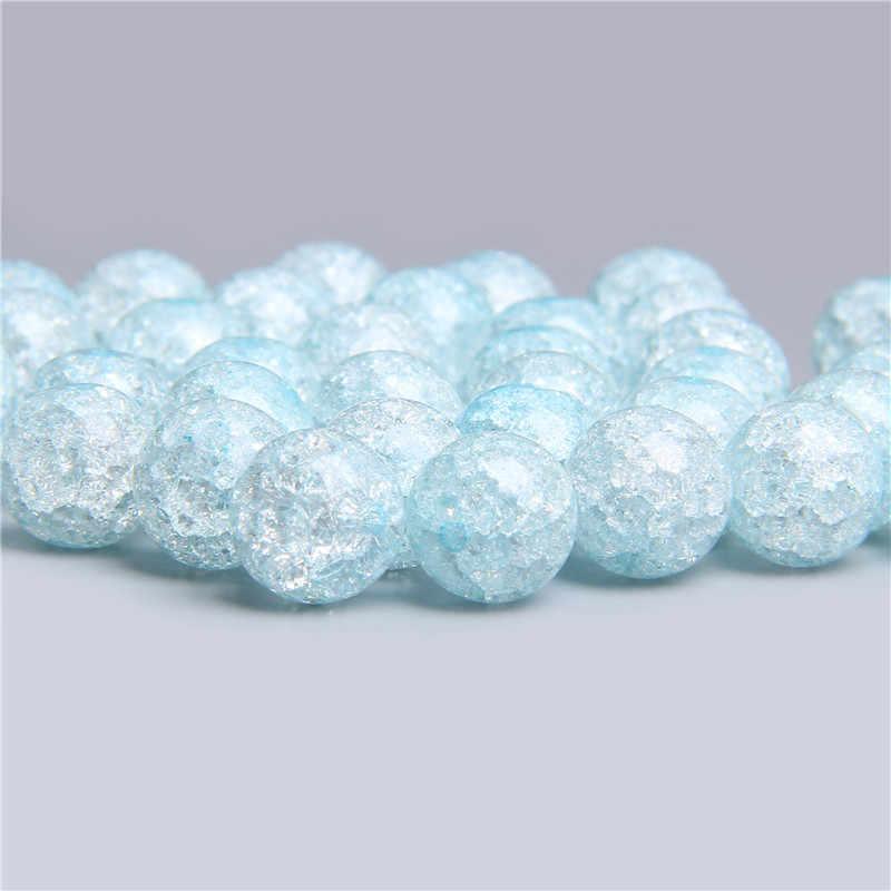 Naturalny śnieg pęknięty kryształowe szklane koraliki do tworzenia biżuterii kobiety akcesoria Diy luźny okrągły element dystansowy koraliki kwarcowe hurtownia
