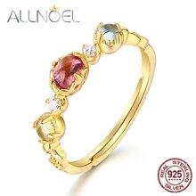 ALLNOEL Solid 925 Sterling Silver Rings For Women 100% Natural Topaz  Red Tourmaline  Lemon Quartz Luxury Wedding 14K Gold Ring