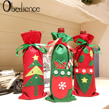 Obedience Christmas Gift Non-woven Wine Bag, Champagne Red Bottle Candy Bag