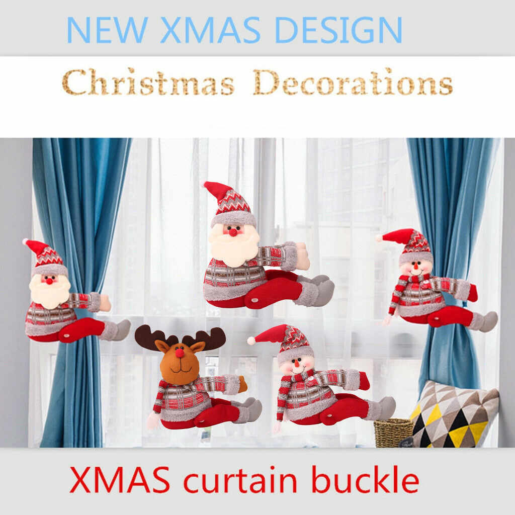 Christmas Curtain Buckle Christmas Home Decorations Santa Claus Sonwman Window Ornament Decor Supplies Festival Kids Gifts #LC