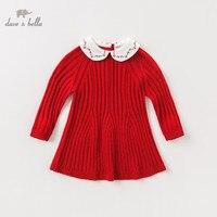 DBM11525 dave bella autumn baby girl's princess solid sweater dress children fashion party dress kids infant lolita clothes