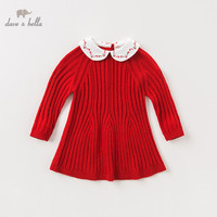 DBM11525 dave bella autumn baby girl's princess solid sweater dress children fashion party dress kids infant lolita clothes