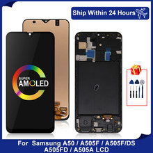 Super amoled para samsung galaxy a50 display lcd SM-A505FN/ds a505f digitador da tela de toque para samsung a505 lcd a505f/ds display