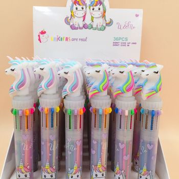 1 Pcs Lovely Unicorn 10 Colors Ballpoint Pen Student Writing Pen School Office Supply Gift Stationery 2 pcs creative japan and south korea cartoon lovely bear gel pen writing pen school office stationery products