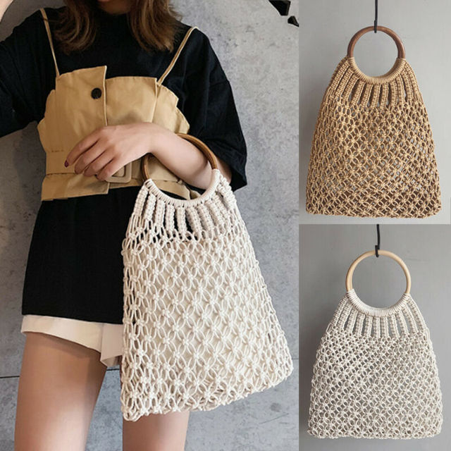 Hand Woven Women Eco Shopping Bags Boho Handbag Bali Basket Vintage Rattan Straw Beach Mesh Shoulder Bag Purse Organizer 2
