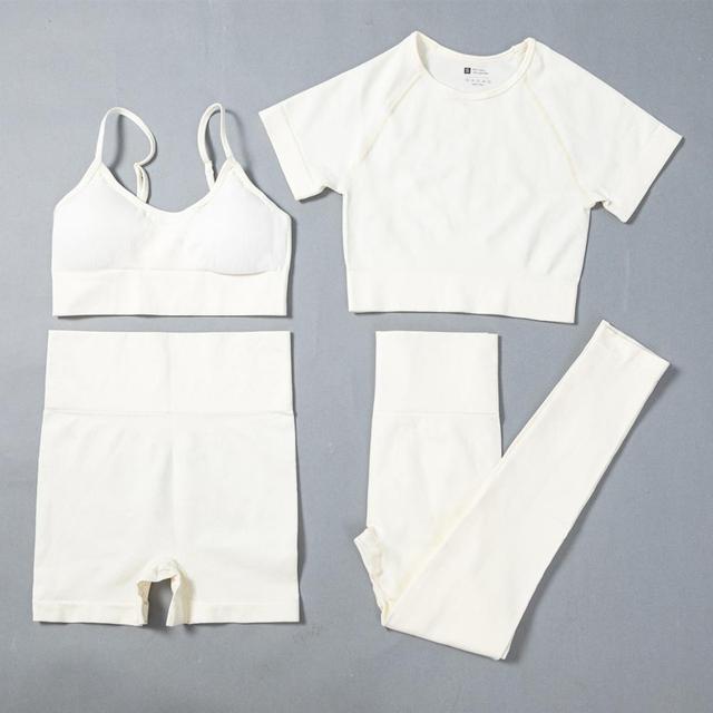 4PCS Seamless Leggings+Short Sleeve Crop Top+Sports Bra+Sport Shorts Yoga Set Sports Wear For Women Gym Clothing Sports Suit