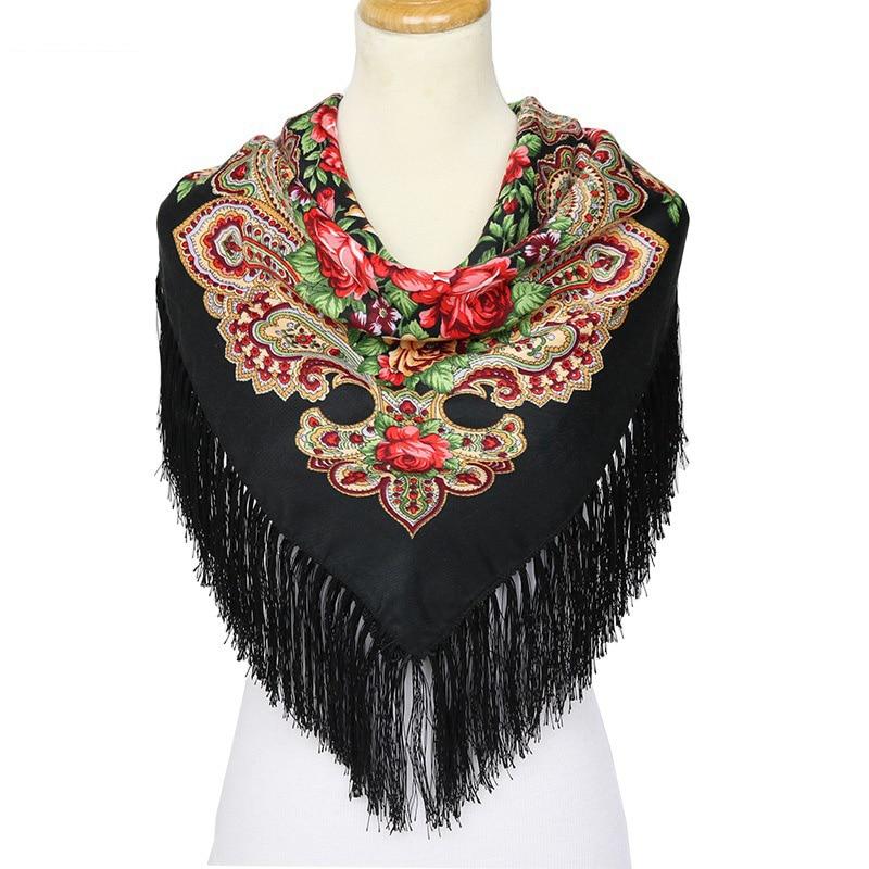 Poncho Russian Shawls Female Hijab Scarf Large Size Retro Flowers Pattern Tassel Scarf Cotton Tassel Woman Wraps Hijabs Muslim