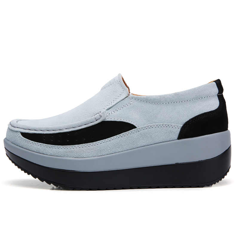 2019 frühling Frauen Flache Plattform Schuhe Casual Sneakers Wildleder Leder Frauen Schuhe Mokassins Slip Auf Wohnungen Damen Loafers Creepers