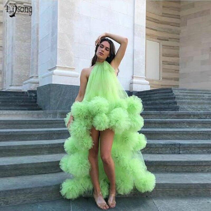 Robe de soirée néon vert Sexy longue soirée robes formelles salut bas volants Tulle robe de soirée asymétrique licou robes de soirée