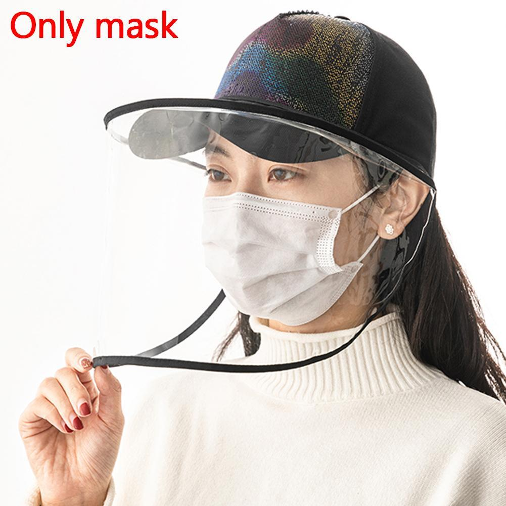 Protective Transparent Mask With Removable Protection Cap Anti-fog Saliva Face Masks Windproof Fisherman Hat