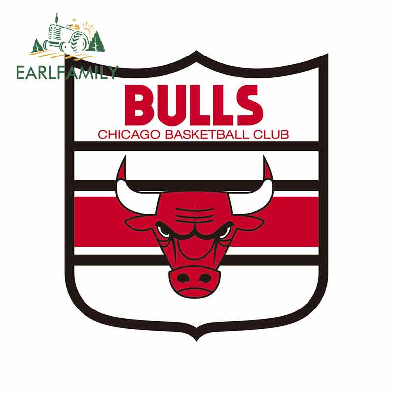 EARLFAMILY 13cm X 11.7cm Personality Car Styling Chicago Of Bulls Shield Logo Vinyl Decal Waterproof Car Stickers