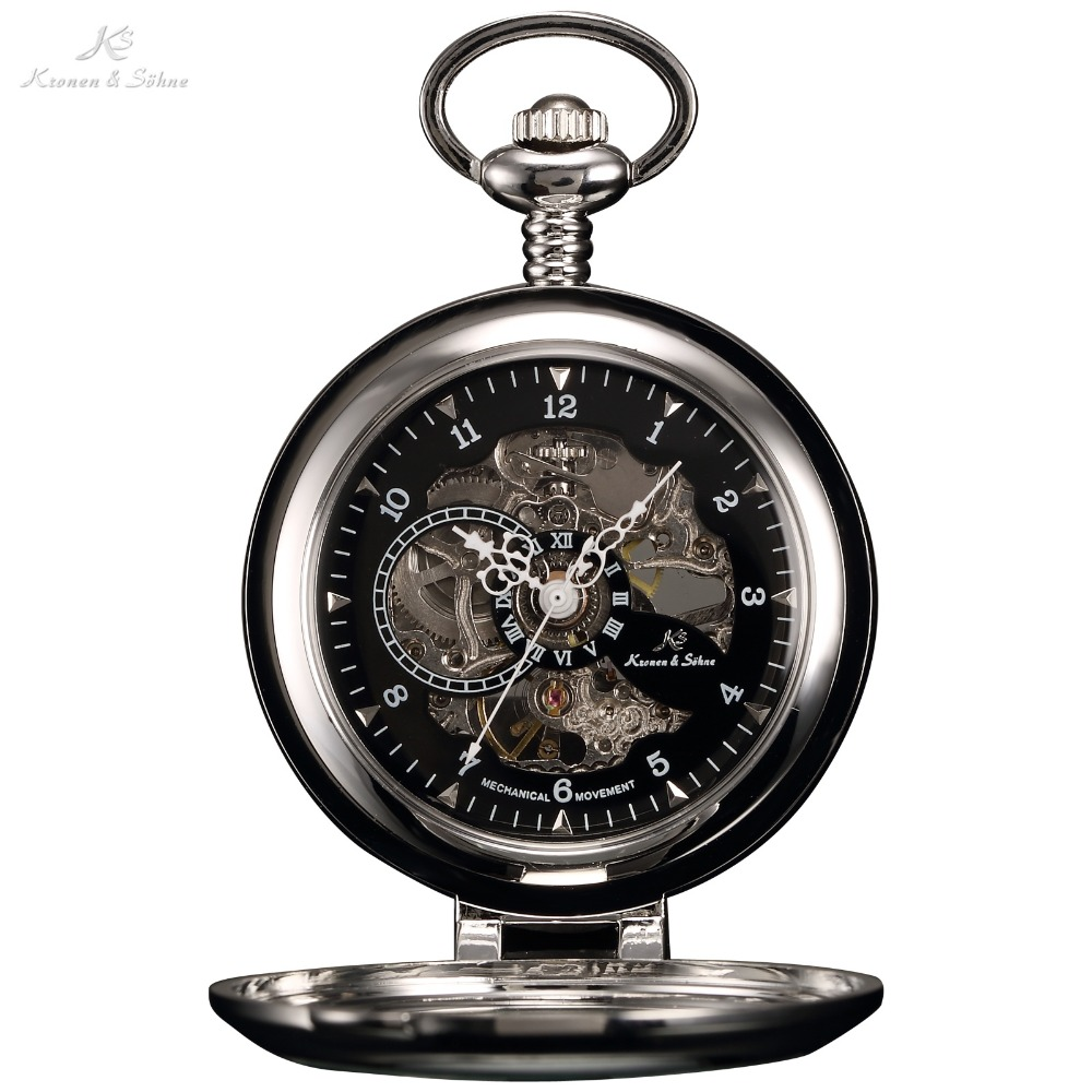 KS Luxury Black Skeleton Self-stand Case Analog Hand Wind Mechanical Relogio Fob Pendant Chain Steampunk Men Pocket Watch/KSP063
