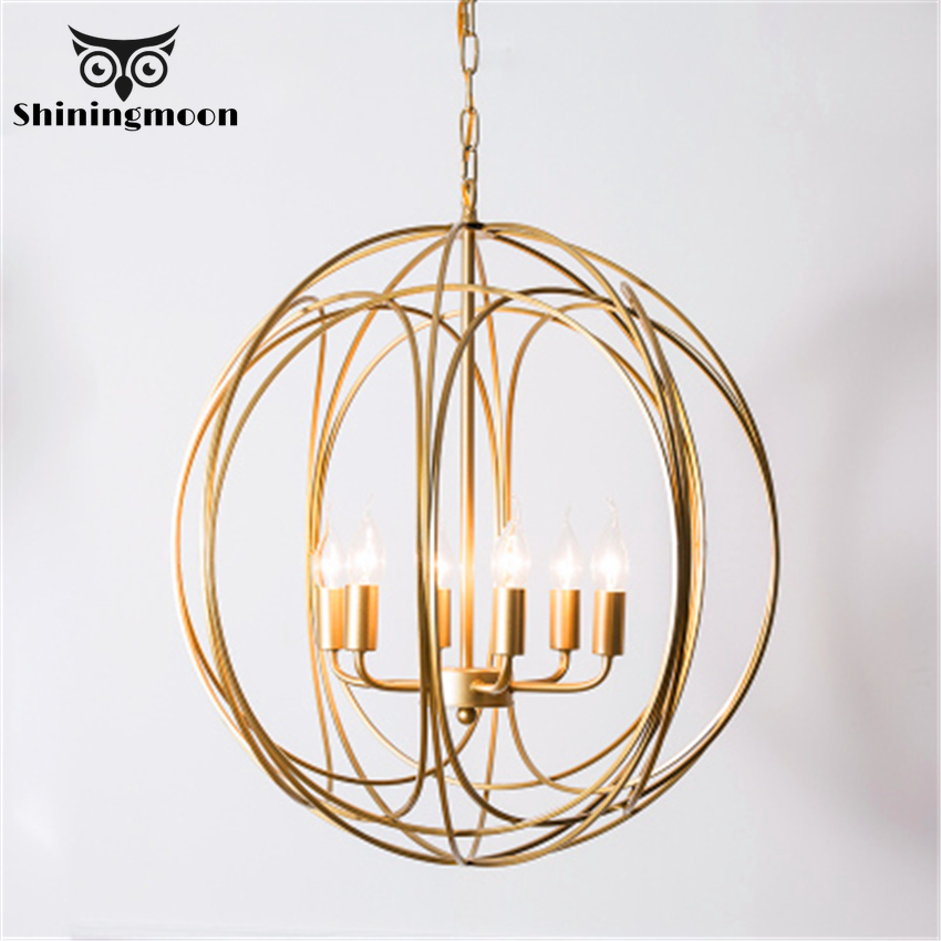 Modern Golden Round Pendant Lights Iron Retro Bedroom Stairs Pendant LampVintage Home Decor Kitchen Hanging Lights Luminaria|Pendant Lights| |  - title=