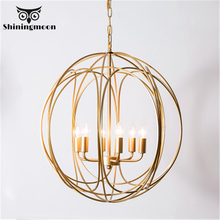 Modern Golden Round Pendant Lights Iron Retro Bedroom Stairs LampVintage Home Decor Kitchen Hanging Luminaria