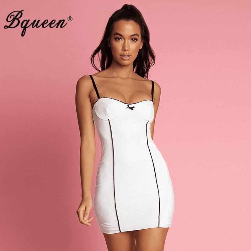Bqueen femmes Spaghetti sangle mignon nœud robe rayure dos nu robe d'été mode Vestidos 2019