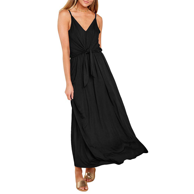 Free shipping in the UK Sexy Dress Women Temperament Deep V Summer Solid Color Mid length Sleeveless Sling Casual Dress 2019 in Dresses from Women 39 s Clothing