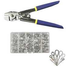 Alicate de pesca de aço inoxidável fio corda ferramenta de friso com 150 pçs virola friso loop kit para crimpers & mangas friso também