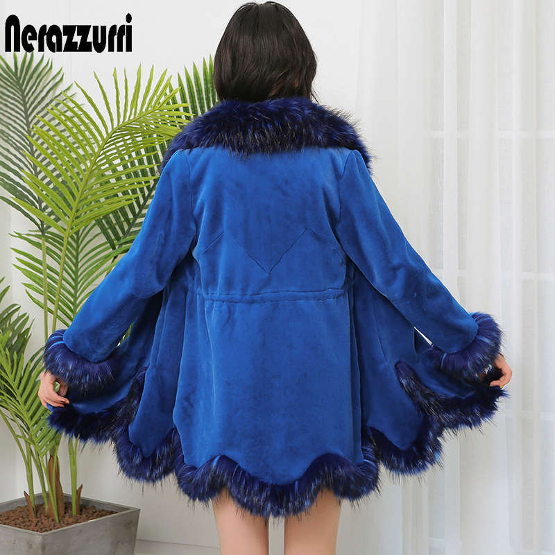 Nerazzurri Winter Faux Fur Coat Women With Fox Fur Trim Blue Fluffy Warm Fake Fur Jacket Luxury Ladies Imitation Fur Coat 5xl