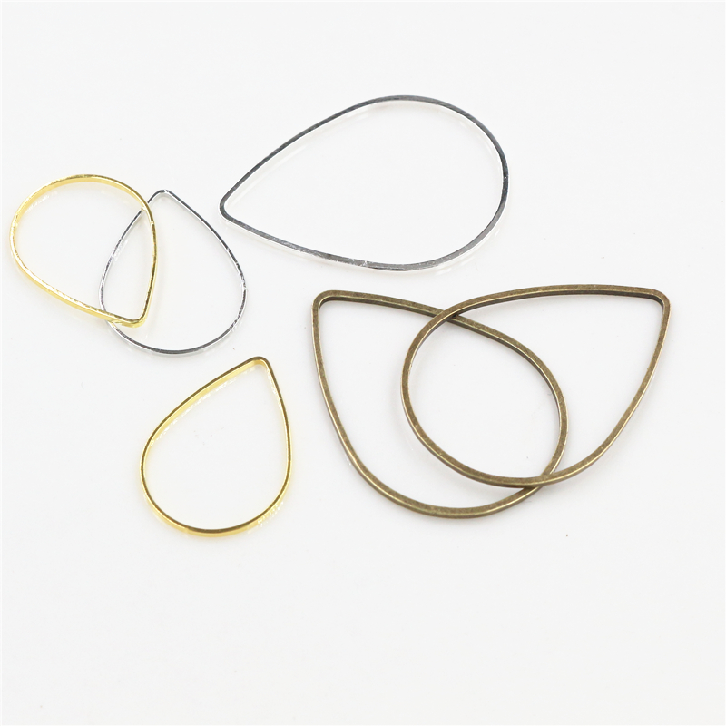 50pcs/lot 20x15/22x30mm 4 Colors Plated Drop Copper Ring For Earrings Findings Earwire Jewelry Charms Jewelry Making Accessories
