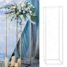 2 stücke Abnehmbare Eisen Kunst Party Geometrische Blume Rack Boden Vase Spalte Stehen Event Dekoration Rostfrei Prop Hochzeits-mittel