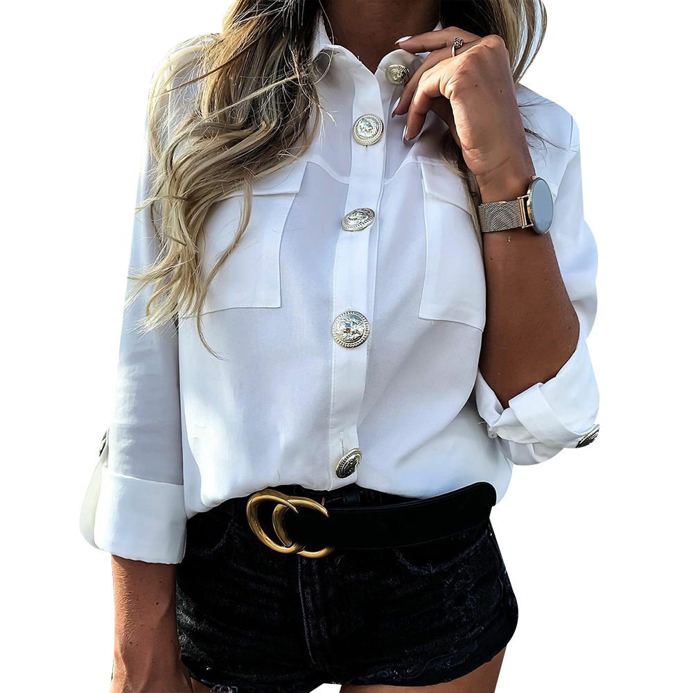 H601c65fb957c49acb6f8e3b2c8889eeaD - Vintage Long Sleeve Pocket Shirt For Women Autumn Tops Blouse Turn Down Collar Khaki White Black Shirt Fashion Female Blusas D25