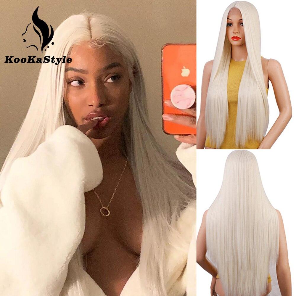 Синтетические парики KooKaStyle, Длинные прямые парики для женщин, парики для косплея, парики из термостойкого волокна, естественный парик Brizilan, ...